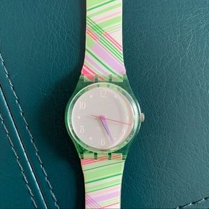 Vintage Swatch Watch Green & Pink Stripes